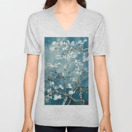 Vincent Van Gogh Almond Blossoms Teal Unisex V-Neck