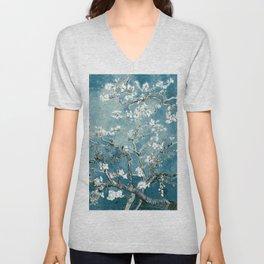 Vincent Van Gogh Almond Blossoms Teal Unisex V-Neck