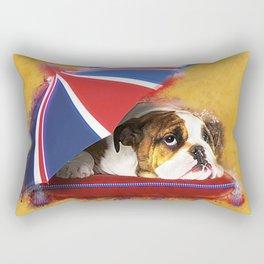 English Bulldog Puppy with umbrella Rectangular Pillow