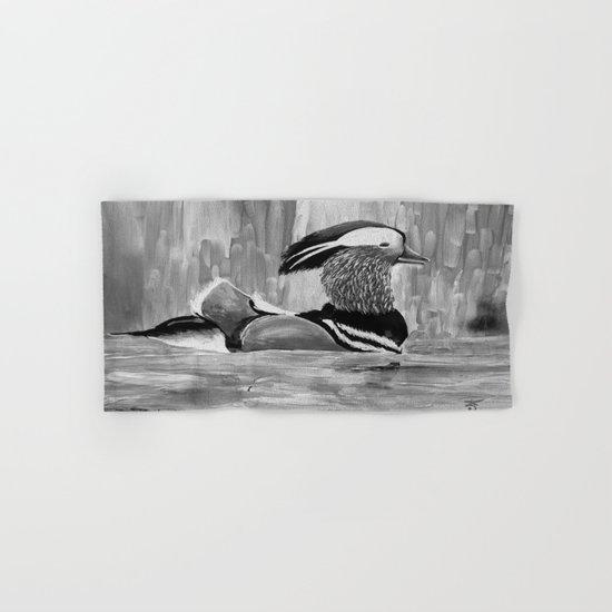 Mandarin Duck at Night Enjoying the Reflection on the Water Hand & Bath Towel