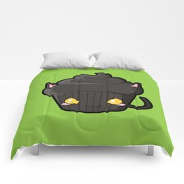 Spooky Cupcake - Black Cat Comforters