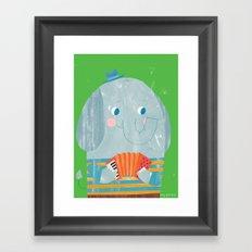 Elephant Accordion Player Framed Art Print