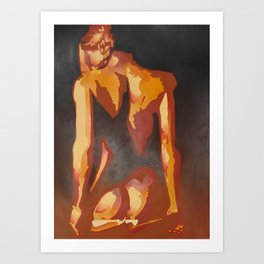 Beautiful Young Woman Wearing Plaits and Panties (Neutral) Art Print