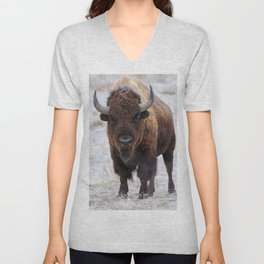 In The Presence Of Bison #society6 #decor #bison by Lena Owens @OLena Art Unisex V-Neck