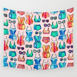 Sixties Swimsuits and Sunnies on blush pink Wall Tapestry