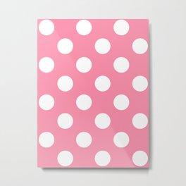 Large Polka Dots - White on Flamingo Pink Metal Print