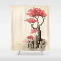 fishing Shower Curtains featuring Revenge of the nature III: Fishing memories in the old world by Rafapasta