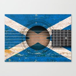 Old Vintage Acoustic Guitar with Scottish Flag Canvas Print