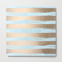 Paint Stripes Gold Tropical Ocean Sea Turquoise Metal Print