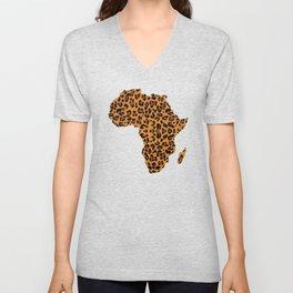 Africa Card Leopard Pattern T Shirt Leopard Fur Gift Unisex V-Neck