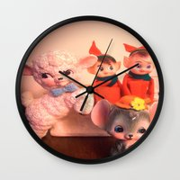 pixies Wall Clocks featuring Pixies gathers with lamb and mouse by Vintage  Cuteness