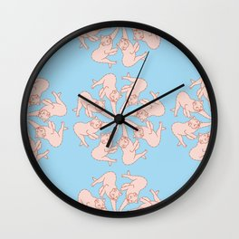 Round of Cats Pattern Wall Clock
