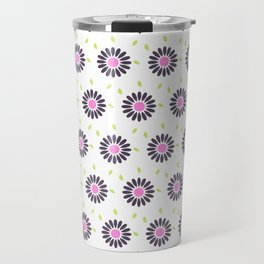 Hand painted black pink lime green floral daisies Travel Mug