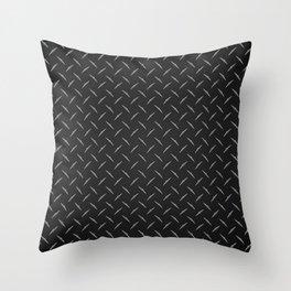 Dark Industrial Diamond Plate Metal Pattern Throw Pillow