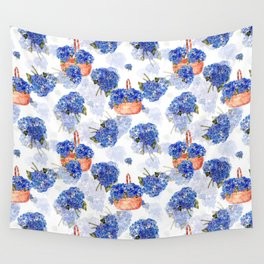 Cape Cod Hydrangeas and Baskets Wall Tapestry