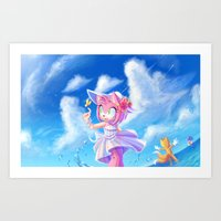 Amy Rose at the beach Art Print