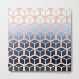 blue ombre with rose gold cube pattern Metal Print