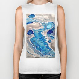 Blue and Silver Fluid Abstract - Silver Lining Biker Tank