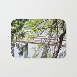 RAINY SPRING DAY AT THE DOCK IN THE WOODS Bath Mat
