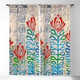 Red flowers Blackout Curtain