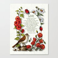 bible verses Canvas Prints featuring Bible Verses About LOVE, With Bird, Ladybugs, and Floral Art by joyart