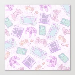 Gamer Girl Pattern Canvas Print