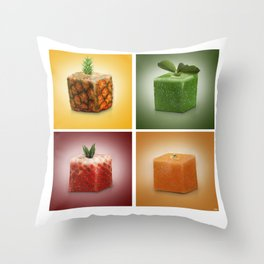 squared fruits Throw Pillow