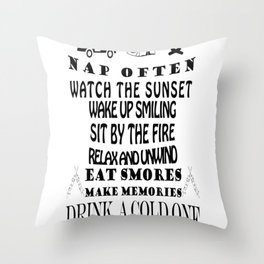 camping rules drink a cold one visit with friends be gratefull Throw Pillow