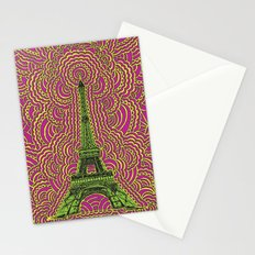 Eiffel Tower Drawing Meditation - Green/Pink/Yellow Stationery Cards