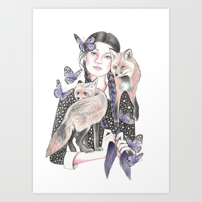 Fox By Night Art Print