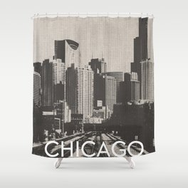 Chicago Illinois Skyline Black and White Canvas Shower Curtain