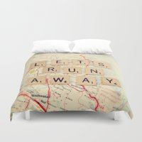 run Duvet Covers featuring let's run away by shannonblue