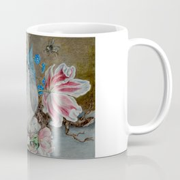 Blue Titmouse and Bee with floral still life Coffee Mug