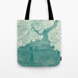 Istanbul Map Blue Vintage Tote Bag