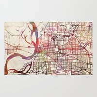 memphis Area & Throw Rugs featuring Memphis by MapMapMaps.Watercolors