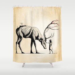 Knowing the Deer Tree Shower Curtain