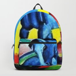 Colorful Blue Horse Friesian portrait horses painting by Franz Marc Backpack