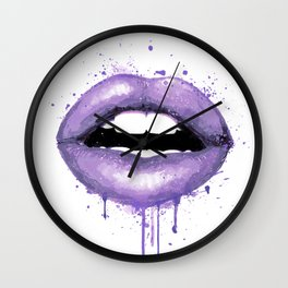 lavender Lips Art Watercolor Print Kiss Love Sexy Girl Fashion Poster Lipstick Makeup Decor Wall Clock