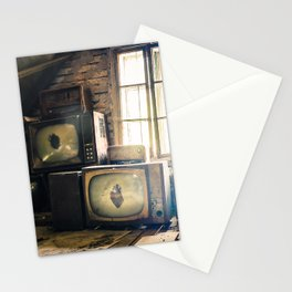 Old televisions in a dusty attic Stationery Cards