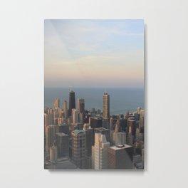 Chicago Skyline Sunset Metal Print