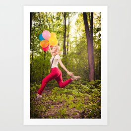 Beautiful blonde girl with colourful baloons in nature  Art Print