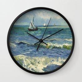 Vincent van Gogh - Seascape near Les Saintes-Maries-de-la-Mer Wall Clock