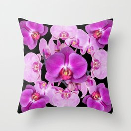Modern  Ornate Pink & Purple  Moth Orchids Black Colored Art Throw Pillow