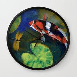 Showa Koi and Dragonfly Wall Clock