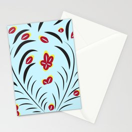 pattern with flowers and leaves hohloma style  Stationery Cards