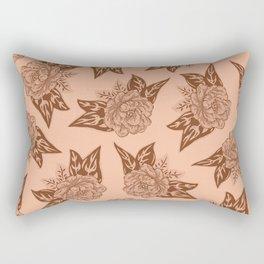 Cabbage Roses in Rust Rectangular Pillow