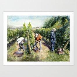 Vineyard Watercolor Landscape Wine Grapes Nature Art Print