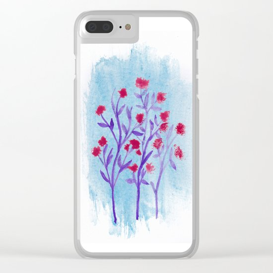 Red flowers watercolor Clear iPhone Case
