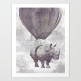 Rhino on Clouds Art Print