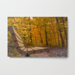 The Bench In The Golden Forest Metal Print